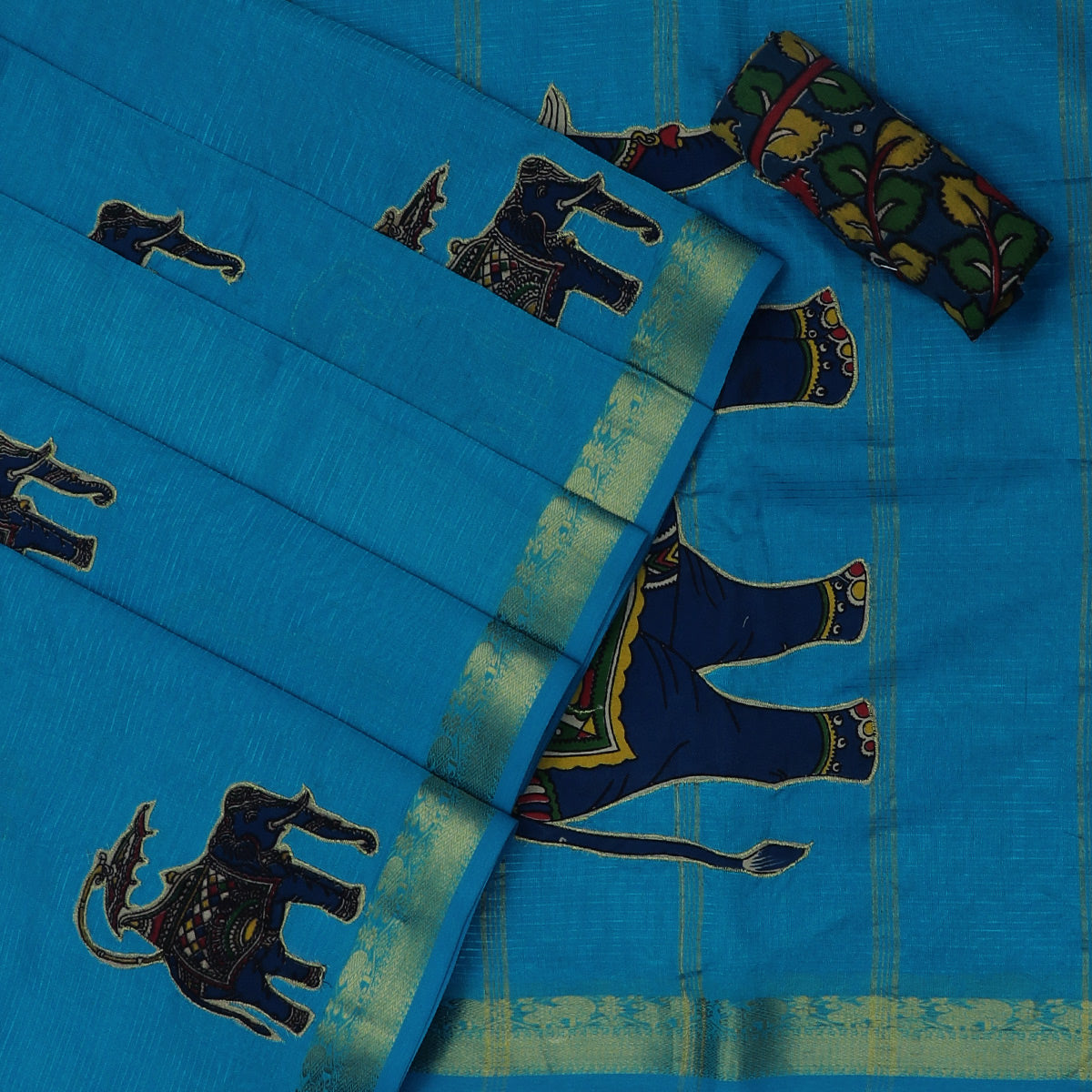 Silk Cotton Saree-Sky Blue with Simple Zari border and Kalamkari applique work