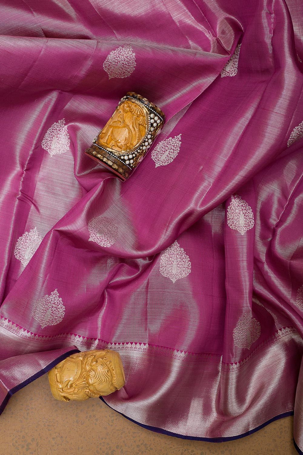 Tissues Silk Saree Dual shade of Pink with buttas and Silver zari Border