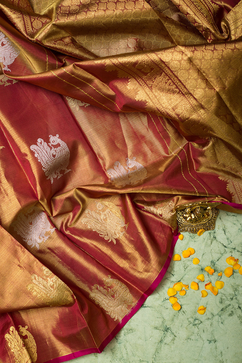 Tissue Silk Saree Dual Shade of Brown with Annam Buttas