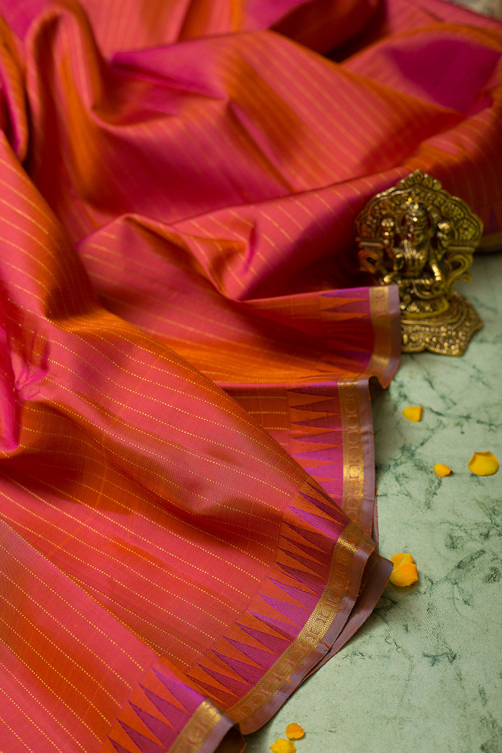 Kanjivaram Silk Saree Yam Orange with Gold Lines and Temple Border