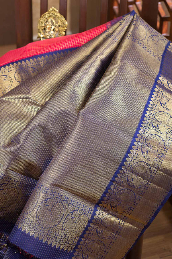 Kanjivaram silk sarees Red with Zari checks and Blue with Annam zari border