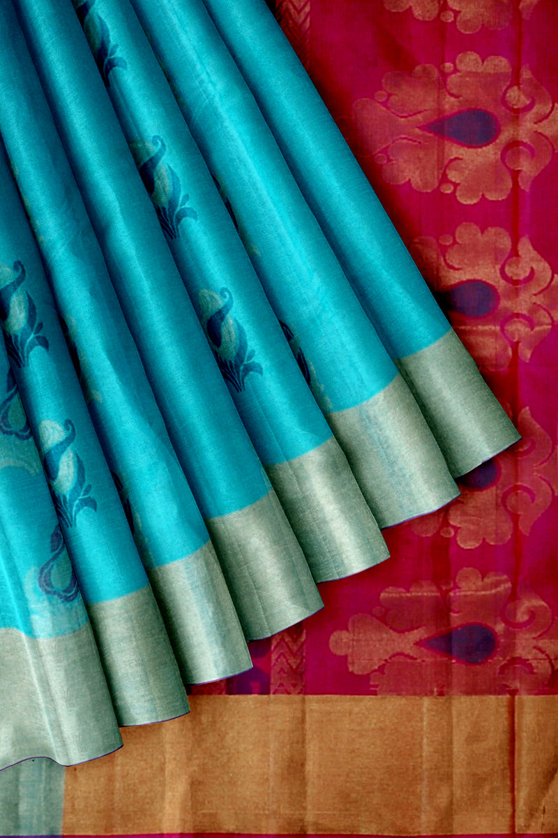 Soft Silk saree light blue with pink and floral butta