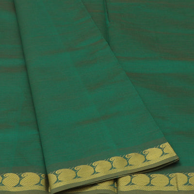 Blended Cotton Saree Green and Orange with Mango zari border 9 yards