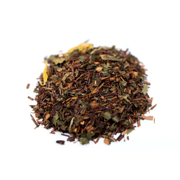 Close up of Choco Mint Rooibos loose leaf herbal tea from Very Craftea