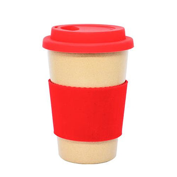 Reusable Cup made from Rice Husk with Red Silicone Lid and Sleeve by Very Craftea