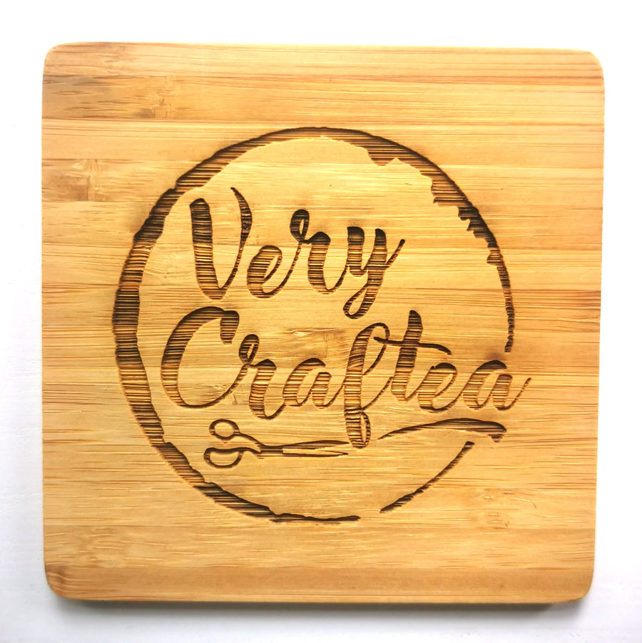Bamboo Coaster 100mm Square with Etched Logo - Very Craftea