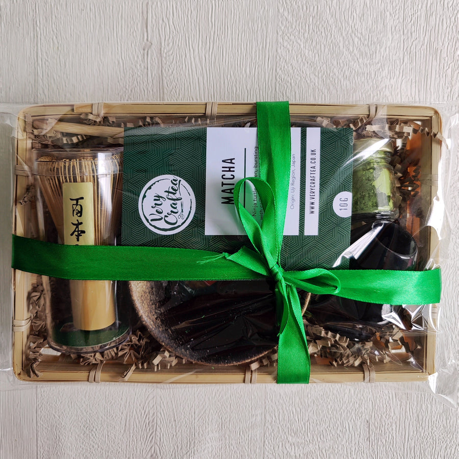 Wrapped Matcha Green Tea Gift Set in Bamboo Tray with Bamboo Whisk, Bamboo Scoop, Jar of Matcha and Whisk Holder from Very Craftea