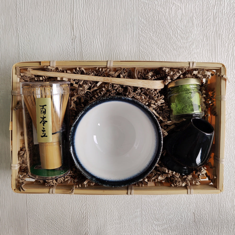 Matcha Green Tea Gift Set in Bamboo Tray with Bamboo Whisk, Bamboo Scoop, Jar of Matcha and Whisk Holder from Very Craftea