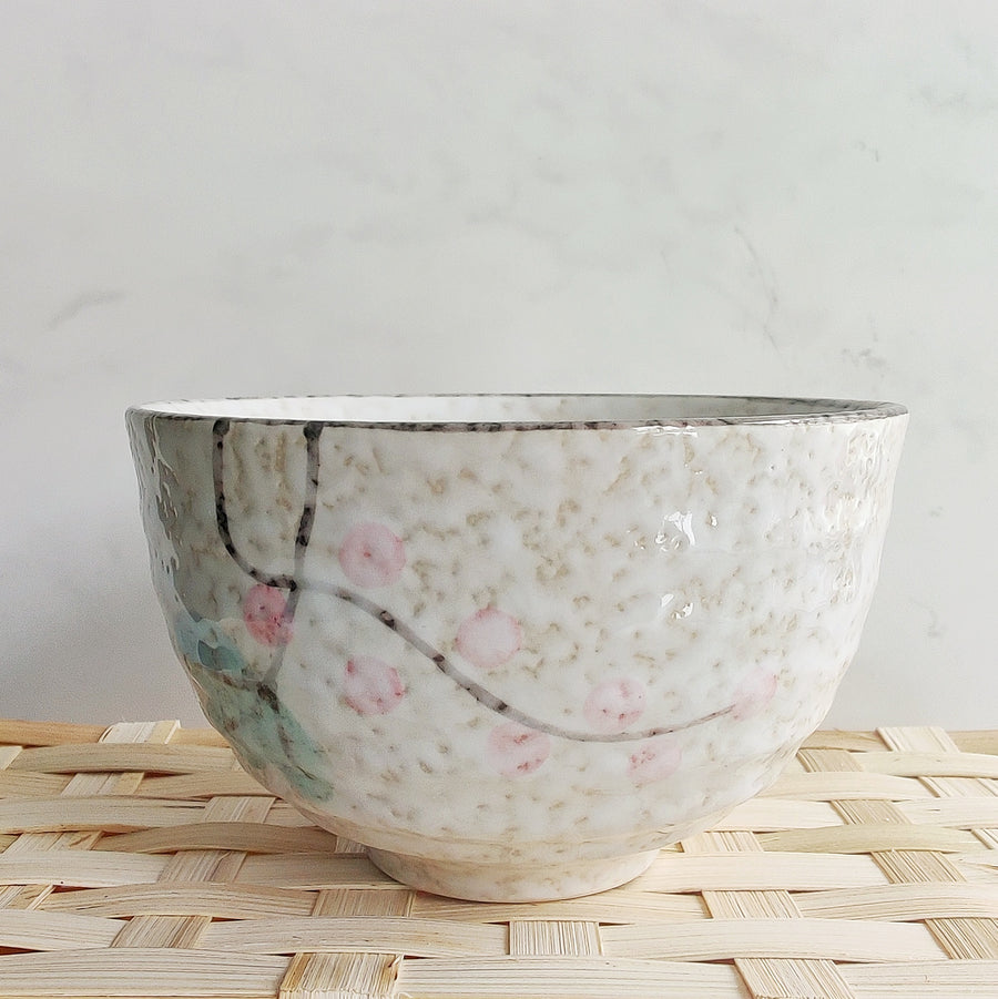 White Matcha Bowl with Flowers from Very Craftea
