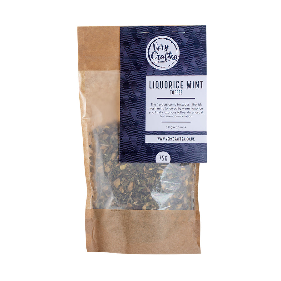 75g Bag of Liquorice Mint Toffee Loose Leaf Herbal Tea in Brown Biodegradable Kraft Bag with Window by Very Craftea