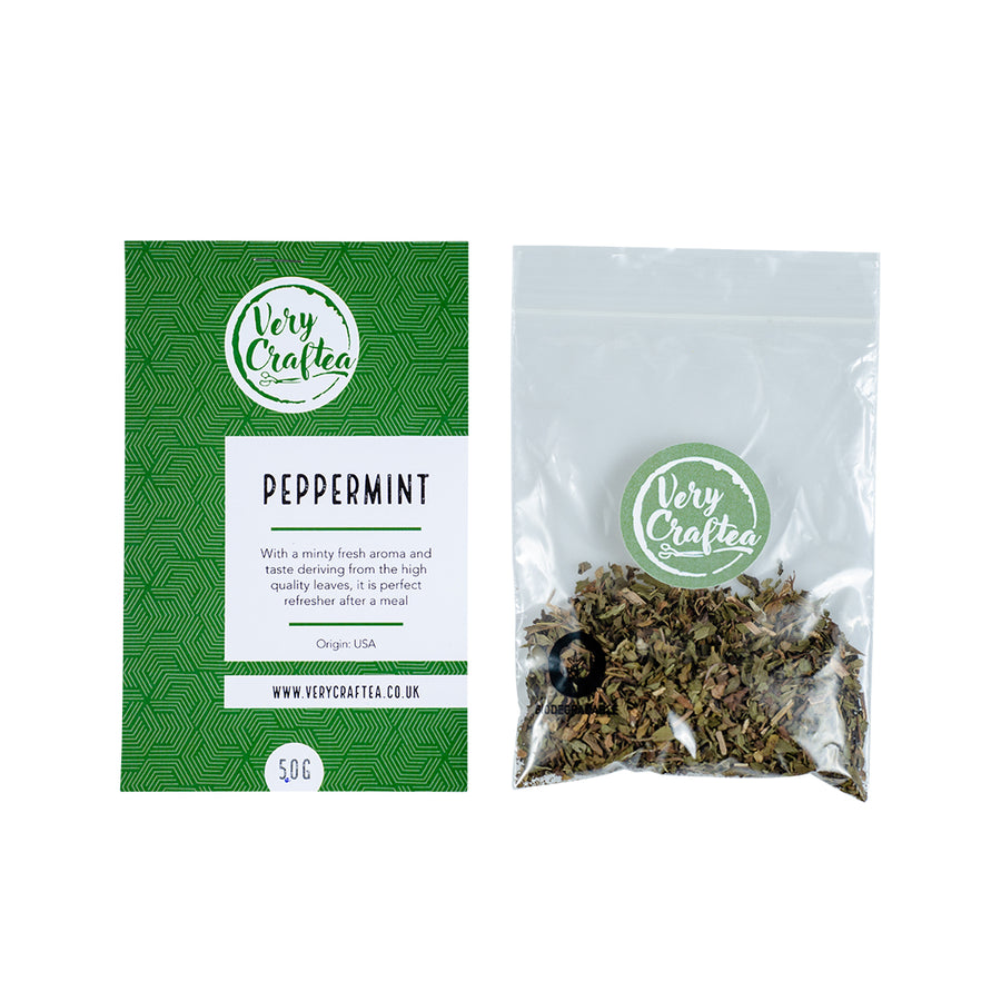 5g Bag of Peppermint Loose Leaf Herbal Tea in Biodegradable Transparent Bag from Very Craftea