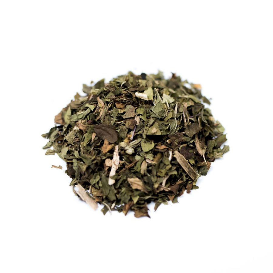 Close up of Peppermint loose leaf herbal tea from Very Craftea