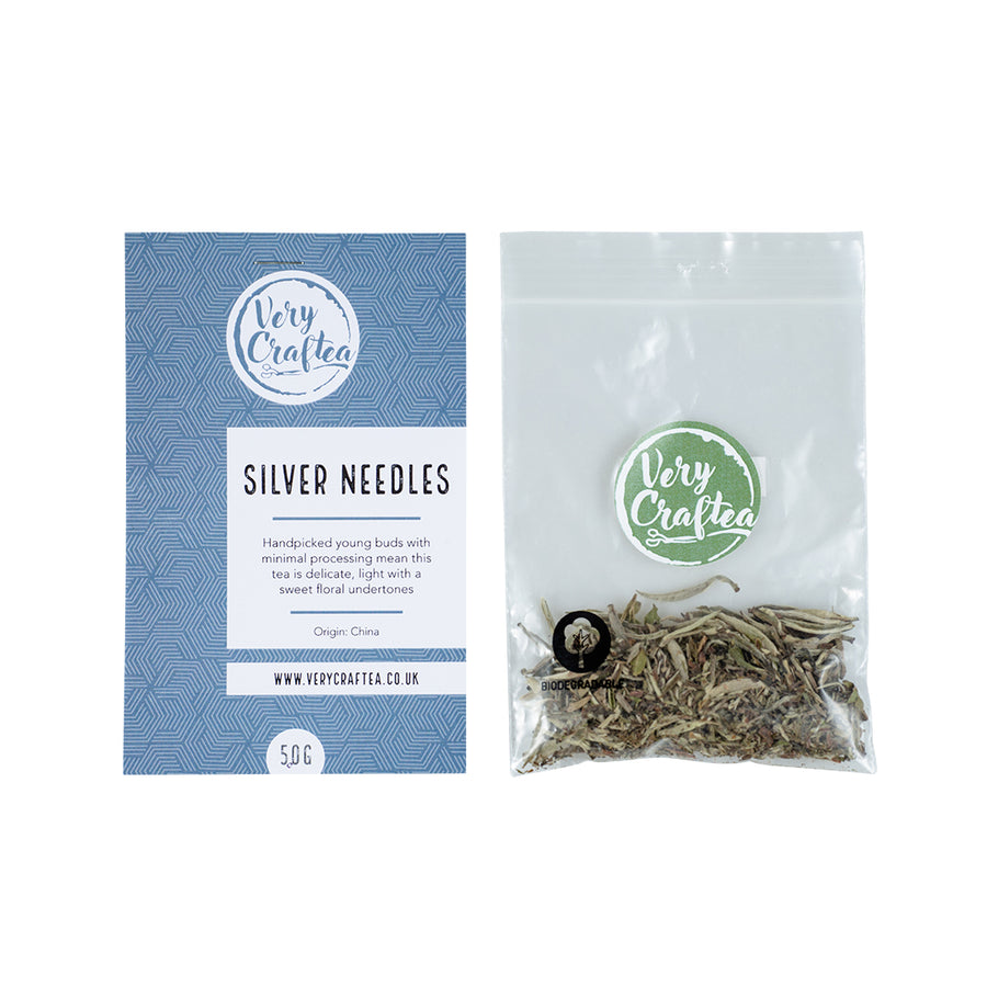 5g Bag of Silver Needles Loose Leaf White Tea in Biodegradable Transparent Bag from Very Craftea