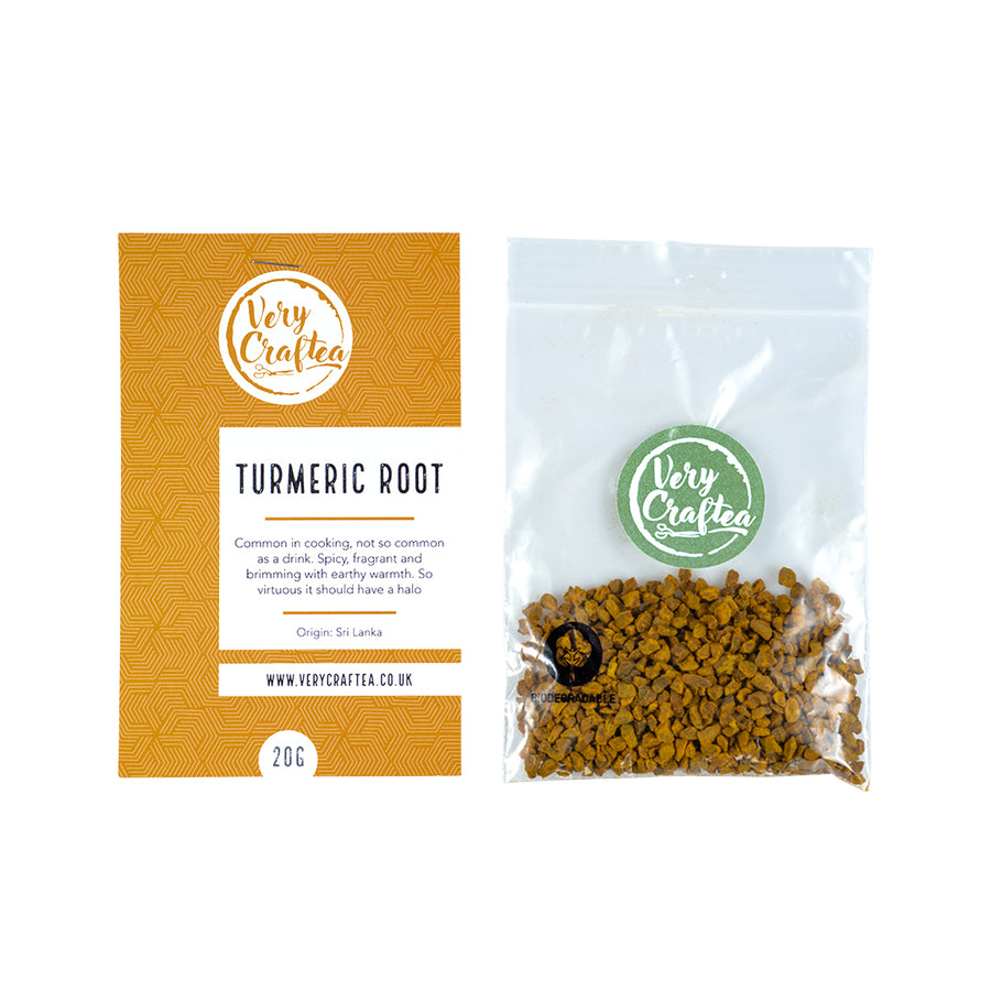 20g Bag of Tumeric Loose Leaf Herbal Tea in Biodegradable Transparent Bag from Very Craftea