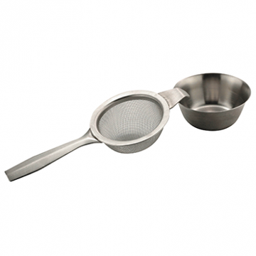 Metal Tea Strainer with Mesh and Drip Tray from Very Craftea