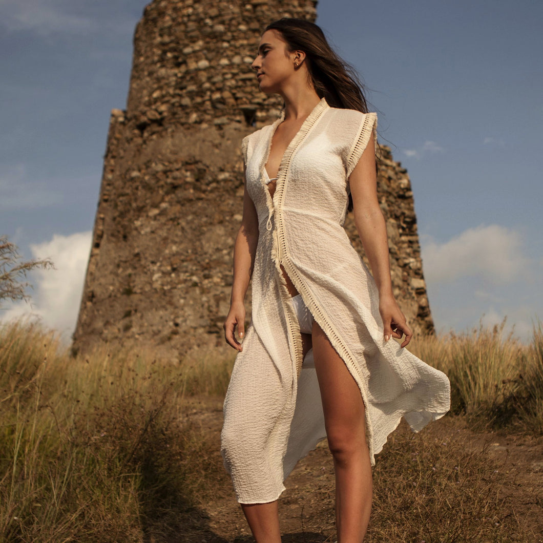 COTTON COVERUP LONG WHITE , RESORT WEAR, BEACHWEAR,100% COTTON, BOHO STYLE