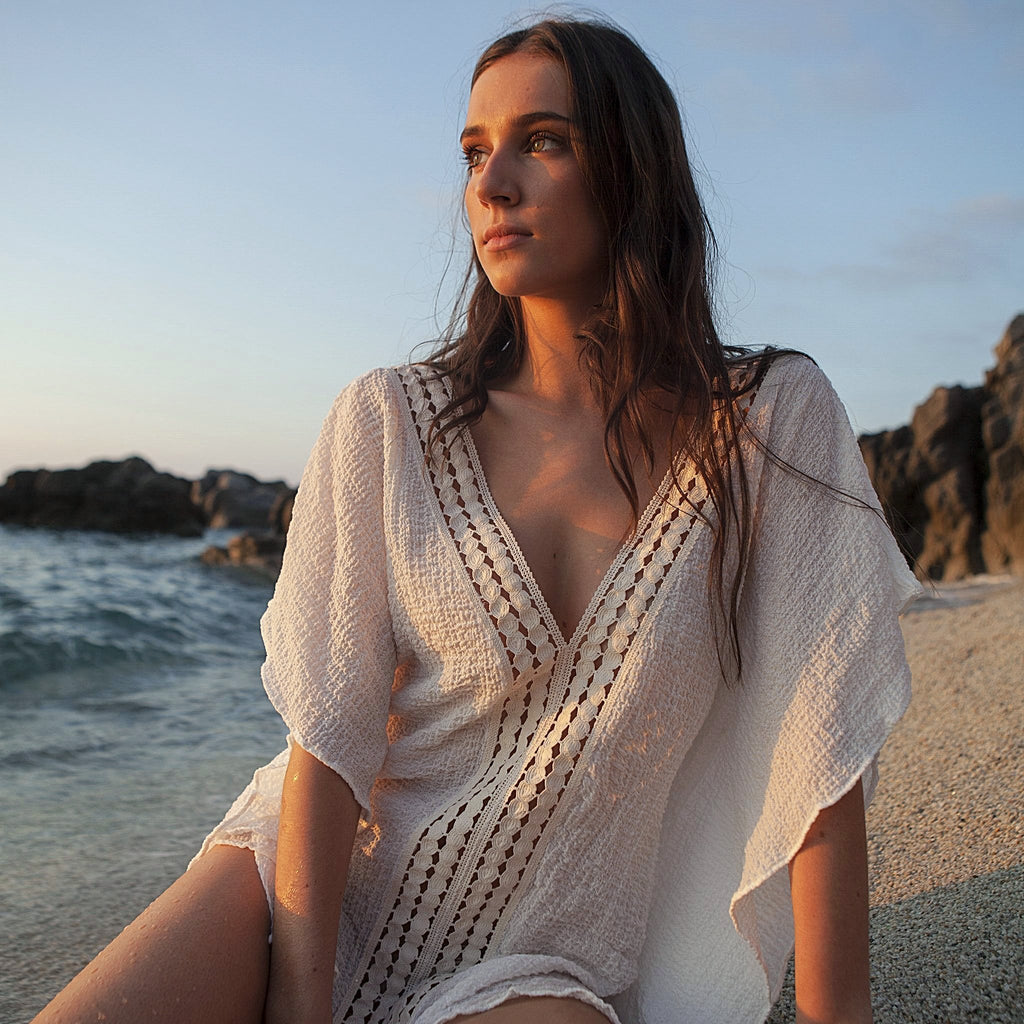 COTTON KAFTAN SHORT WHITE, RESORT WEAR, BEACHWEAR, 100% COTTON