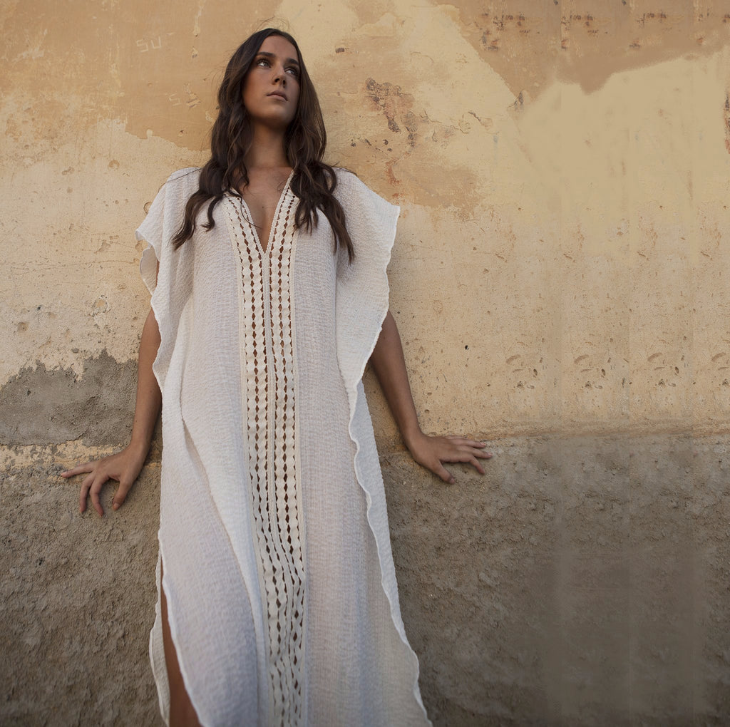 COTTON KAFTAN LONG WHITE, RESORT WEAR, BEACHWEAR,100% COTTON