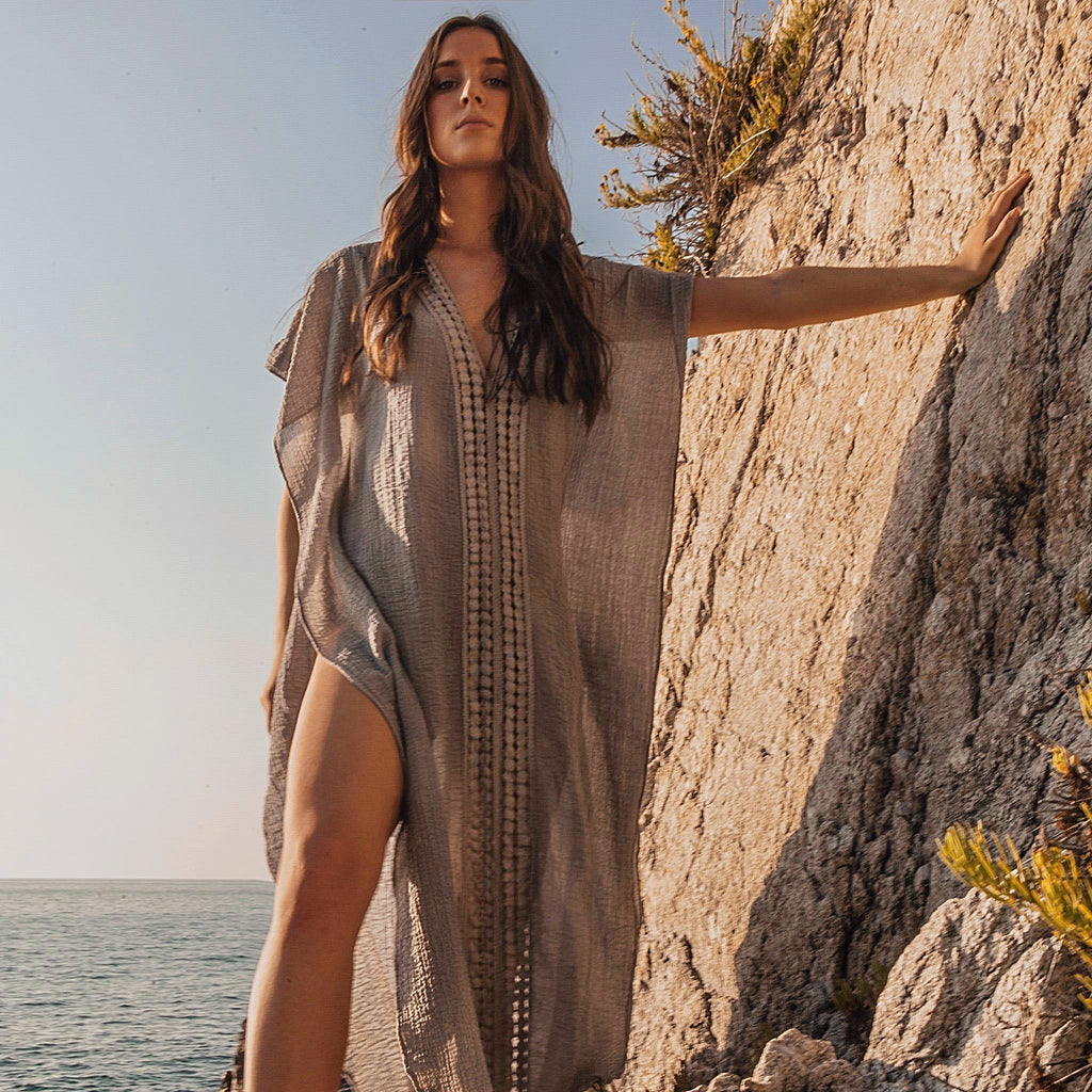 COTTON KAFTAN LONG GREY, RESORT WEAR, BEACHWEAR, 100% COTTON