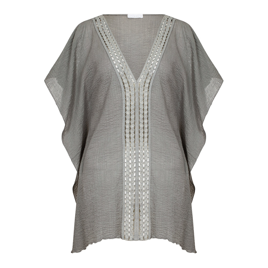 COTTON KAFTAN SHORT GREY, RESORT WEAR, BEACHWEAR,100% COTTON
