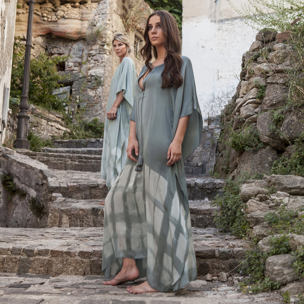 SILKY MAXI KAFTAN GREEN,HAND PRINTED, RESORT WEAR, BEACHWEAR