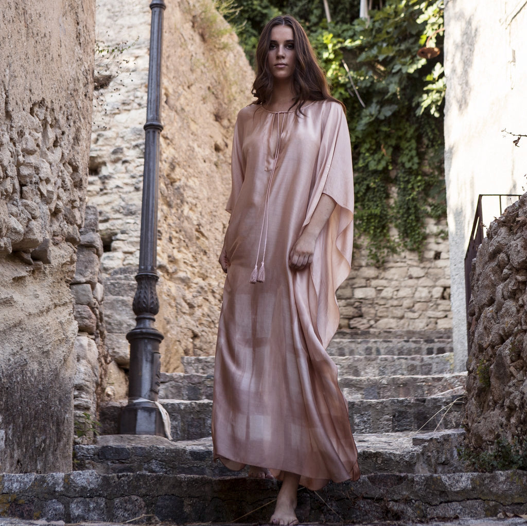 SILKY MAXI KAFTAN PINK,HAND PRINTED, RESORT WEAR, BEACHWEAR