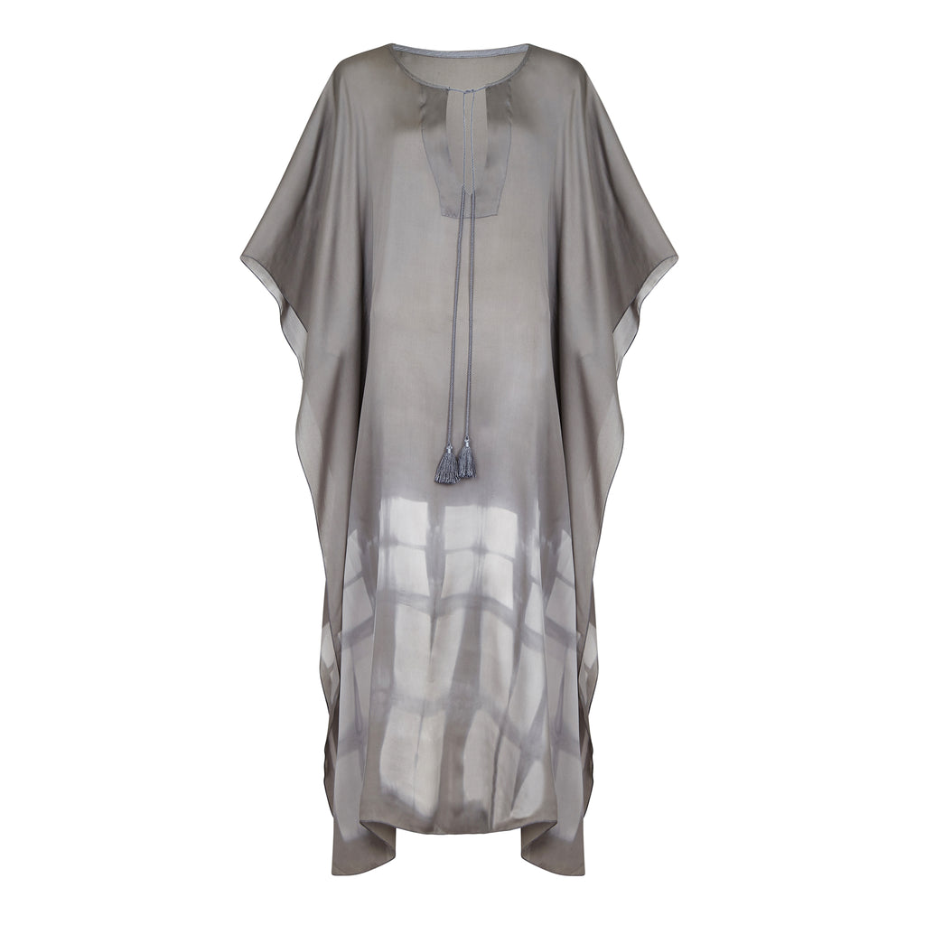 SILKY MAXI KAFTAN GREY,HAND PRINTED, RESORT WEAR, BEACHWEAR
