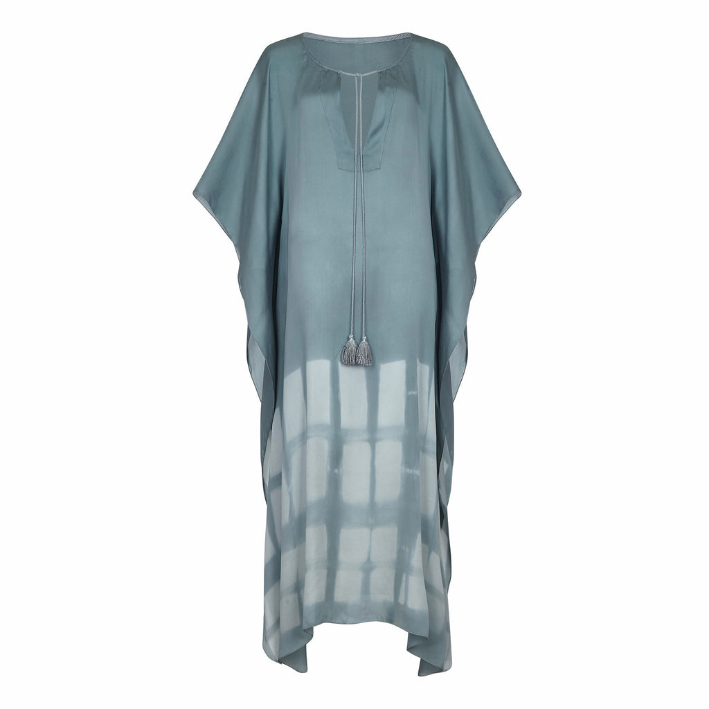 SILY MAXI KAFTAN GREEN,HAND PRINTED, RESORT WEAR, BEACHWEAR