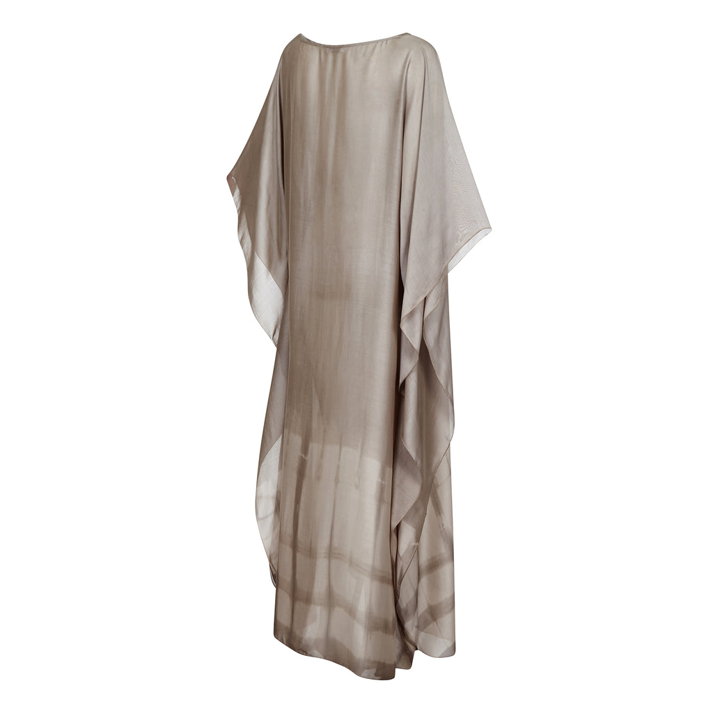 SILY MAXI KAFTAN TAUPE,HAND PRINTED, RESORT WEAR, BEACHWEAR