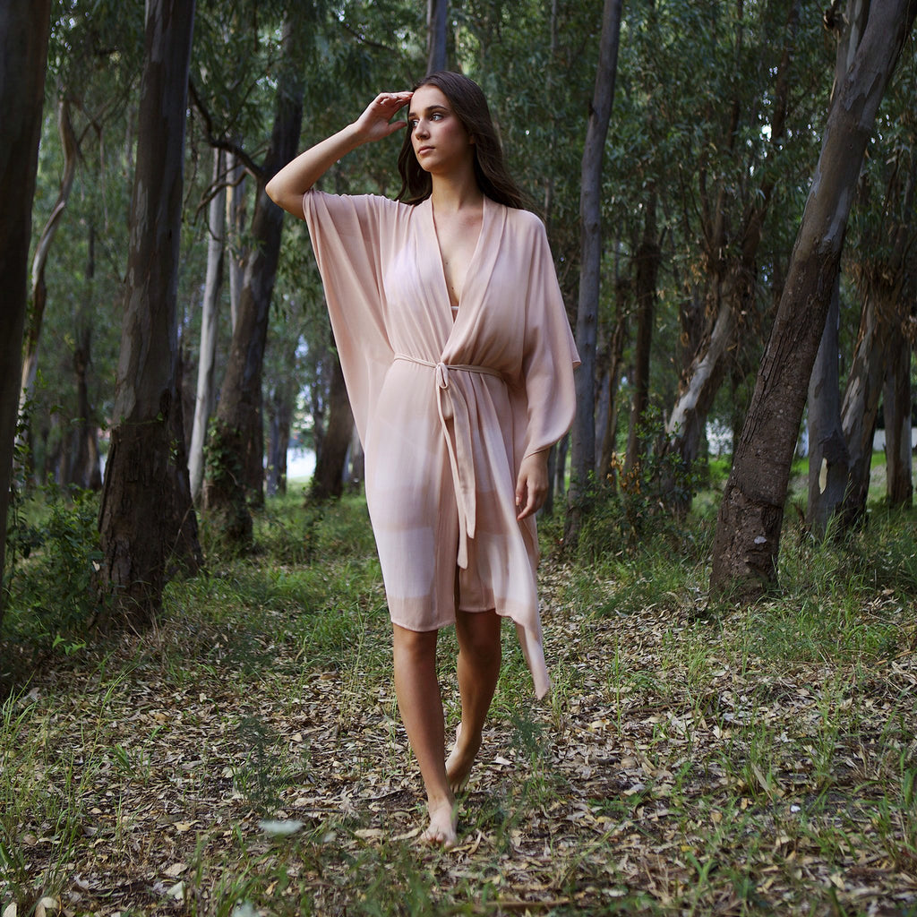 SILKY KIMONO, RESORT WEAR , BEACHWEAR, LOUNGEWEAR, HAND DYED
