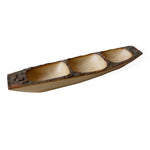 roro 3-compartment Wood Boat Tray with Bark Edges, 16 Inch rorodecor.myshopify.com