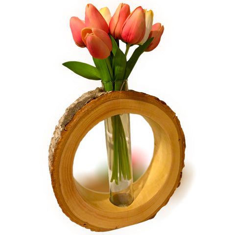 Hand-Crafted Hollowed Tree Trunk Slice Circular Halo Vase rorodecor.myshopify.com