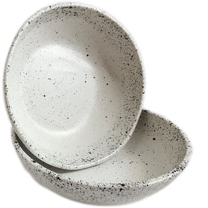 roro White Speckled Ceramic Stoneware Hand-crafted Bowl Set, 7 Inch Set of 2