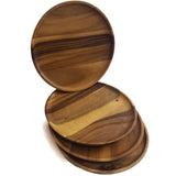 roro Round Acacia 12 Inch Wood Serving Plates and Chargers, Set of 4 rorodecor.myshopify.com