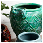 roro Hand-Crafted Green Copper Classical Asian Antiquity Matte Inspired Ceramic Stoneware Vase (Matte Oval Vase, Turquoise) rorodecor.myshopify.com