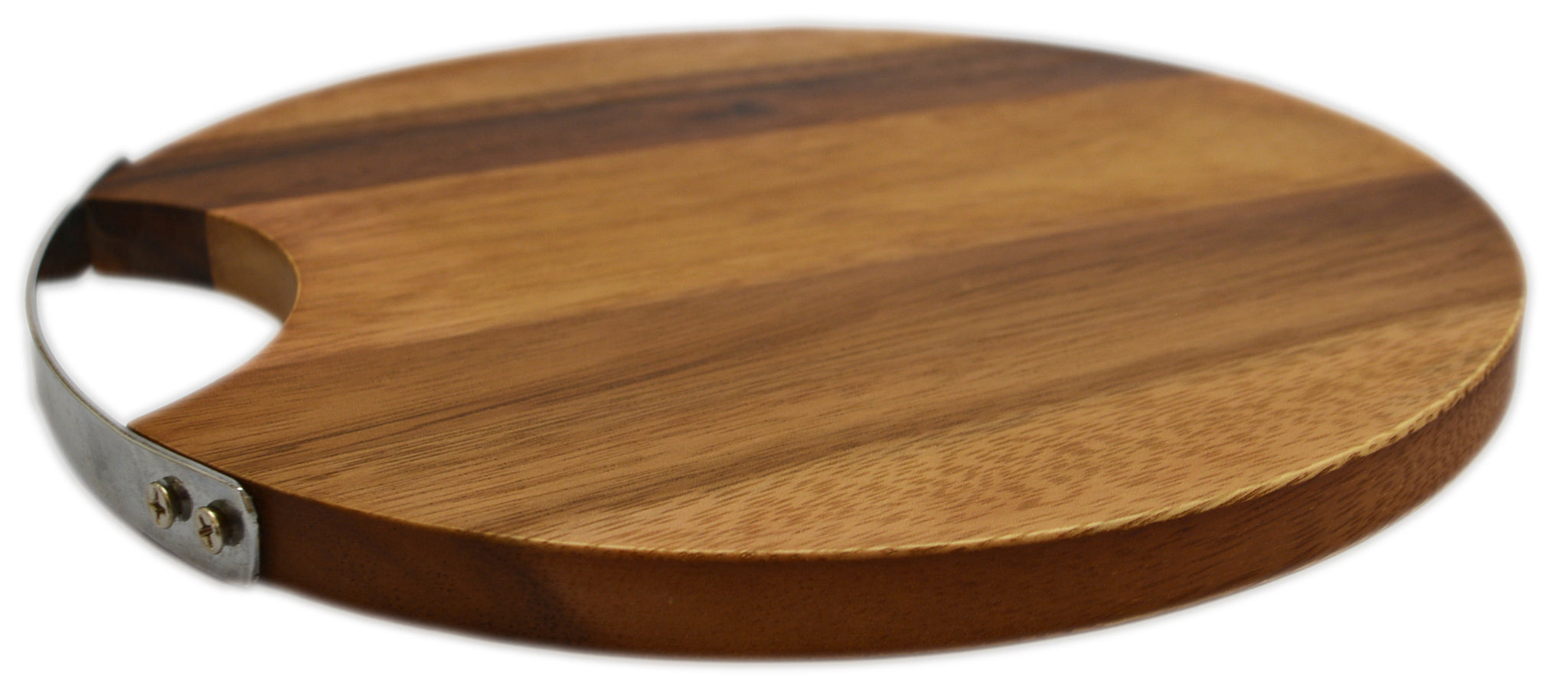 "roro 10"" Round Wood Cheese and Serve Board with Stainless Steel Handle"