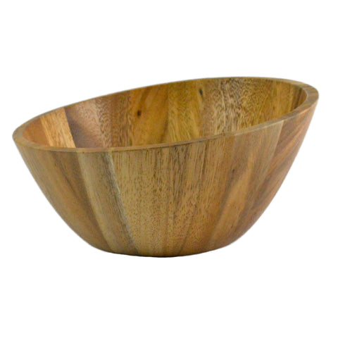 roro Acacia Wood Slanted Modern Salad and Serving Bowl, 10 Inch