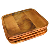 RoRo 8 Inch Acacia Square Wood Charger and Accent Plate rorodecor.myshopify.com