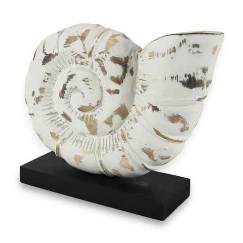 RoRo Tabletop White Accent and Decorative Hand-carved Wood Stylized Nautilus SeaShell Sculpture on Stand rorodecor.myshopify.com