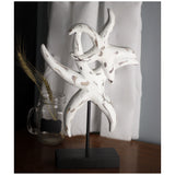 RoRo Tabletop Accent and Decorative Hand-carved Wood Sculpture on Stand (Starfish - Antique White Pair) rorodecor.myshopify.com