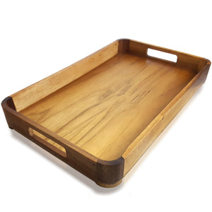 roro Acacia Wood Light Serving Tray with handles, 18.5 x 12 Inch