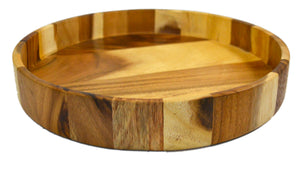 roro Acacia Handmade Wood Round Serving Tray, 12 Inch