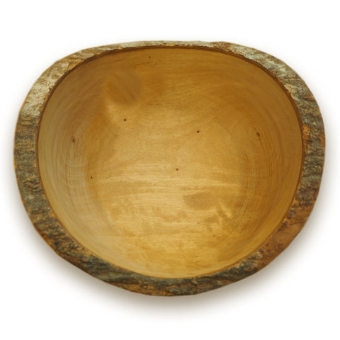 Roro 10 Inch Large Wavy Wooden Salad Bowl with Bark Trim rorodecor.myshopify.com
