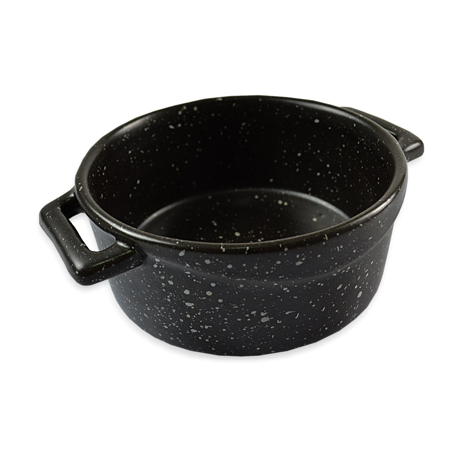 roro Ceramic Two Handle Serving and Soup Bowl, 7 Inch Black Mottled