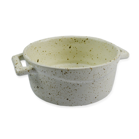 roro Ceramic Two Handle Serving and Soup Bowl, 7 Inch White Mottled