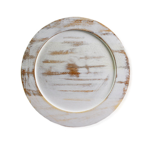 roro Classic Acacia Wood Charger in Whitewash Stain, 14 Inch Set of 4 rorodecor.myshopify.com