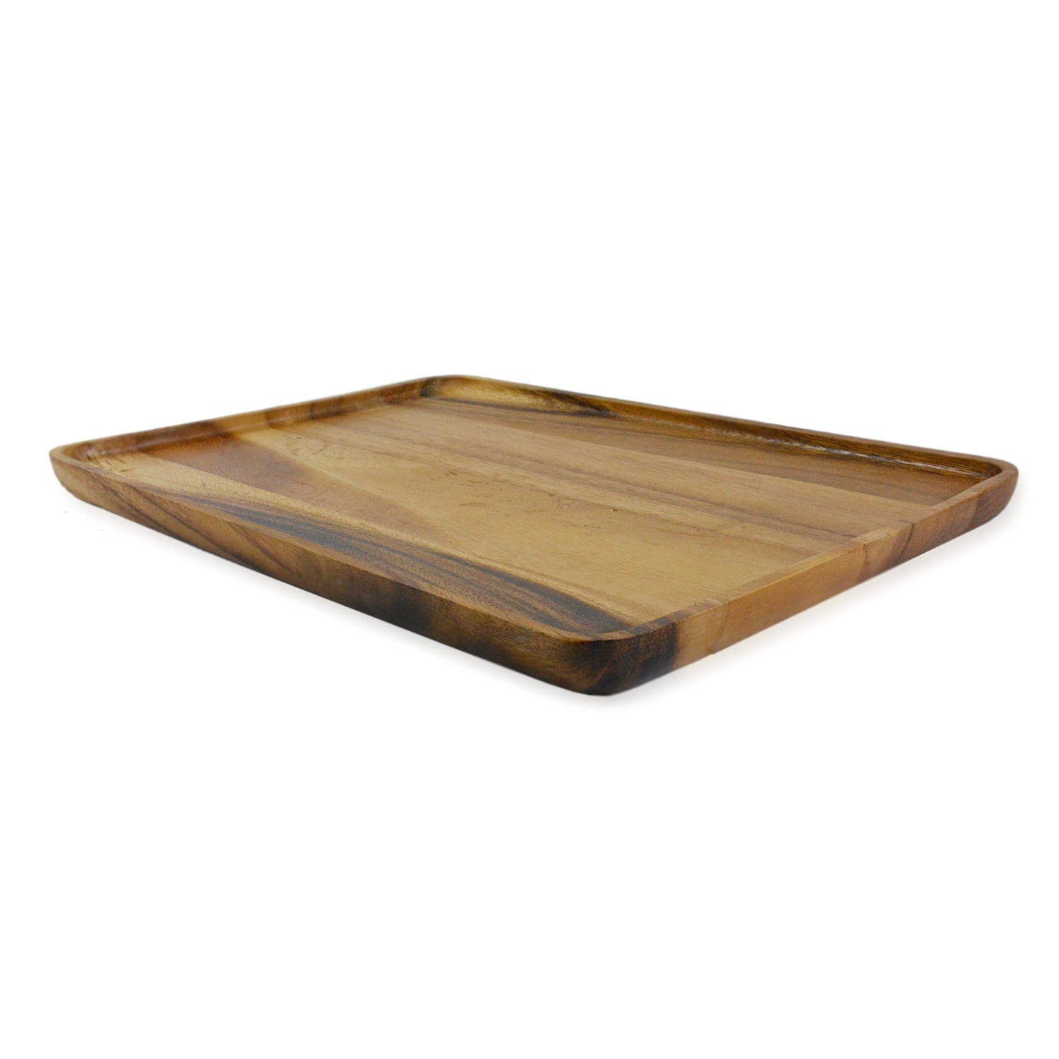 roro 13.5 Inch Acacia Wood Rectangular Serving Tray
