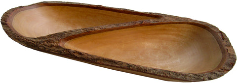 roro Mango Live-Edge Wood Divided Tray with Bark Edges, 17 Inch