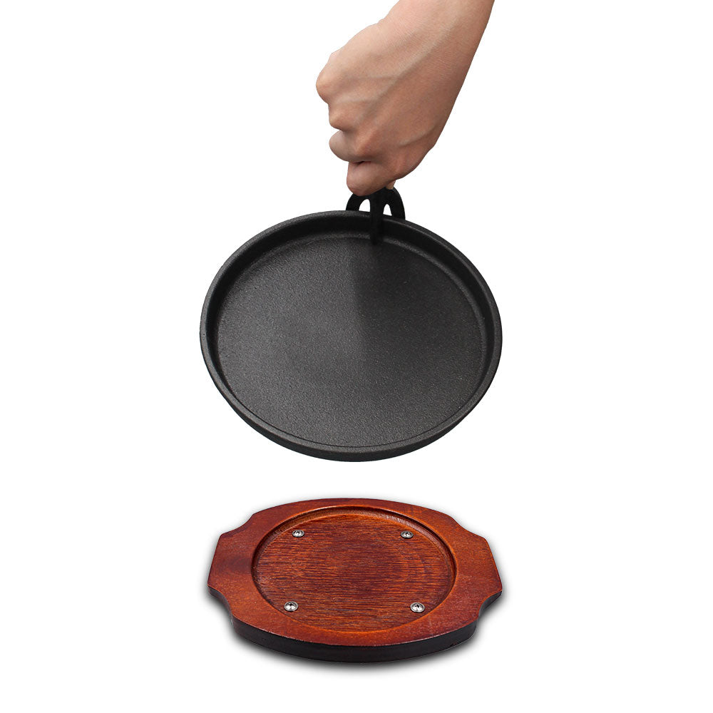 Pre-seasoned cast iron round grill pan