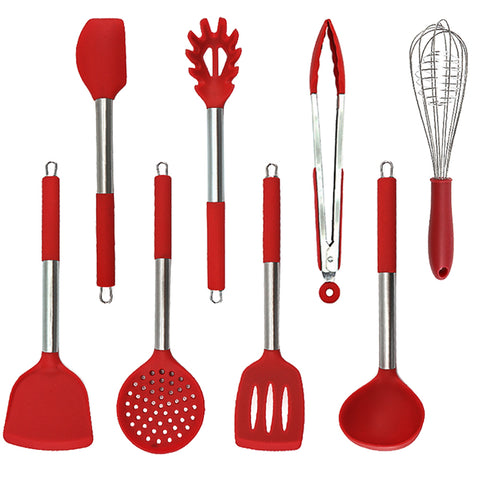 8 pieces silicone utensils set with stainless frame